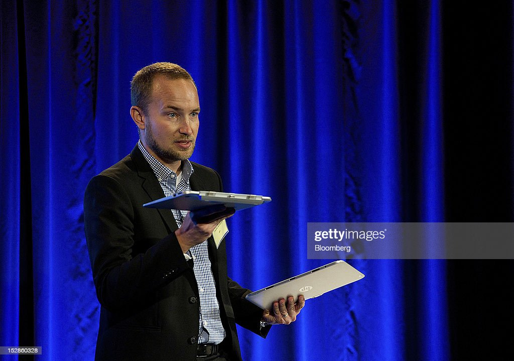Fredrick Hamberger, vice president of personal computer global for Hewlett-Packard Inc., speaks during an event in San Francisco, California, U.S., on Thursday, Sept. 27, 2012. Intel Corp.'s delayed delivery of software that conserves computer battery life is holding up the development of some tablets running the latest version of Microsoft Corp.'s flagship Windows operating system, a person with knowledge of the matter said. Photographer: David Paul Morris/Bloomberg via Getty Images