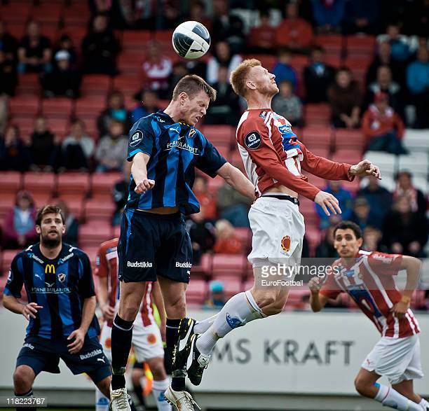 Fredrik Bjorck of Tromso IL goes for the header during the Norwegian Tippeligaen match between Tromso IL and Stabaek Fotball held on June 26 2011 at...