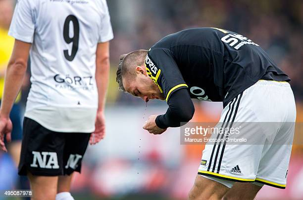 Fredrik Brustad of AIK with nosebleed during the match between Orebro SK and AIK at Behrn Arena on October 31 2015 in Orebro Sweden