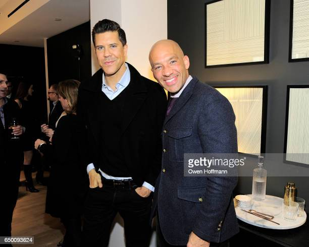 Fredrik Eklund and John Gomes attend 11 Beach Model Residence Unveiling Event at 11 Beach Street on March 7 2017 in New York City