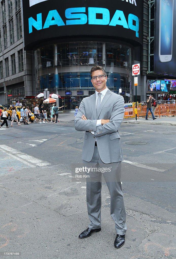Fredrik Eklund, cast member of Bravo's 'Million Dollar Listing' rings closing bell at NASDAQ MarketSite on July 17, 2013 in New York City.