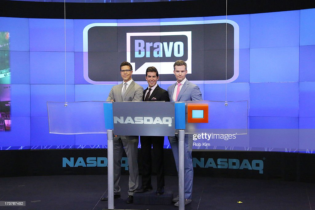 Fredrik Eklund, Luis D. Ortiz and Ryan Serhant, cast of Bravo's 'Million Dollar Listing' ring closing bell at NASDAQ MarketSite on July 17, 2013 in New York City.