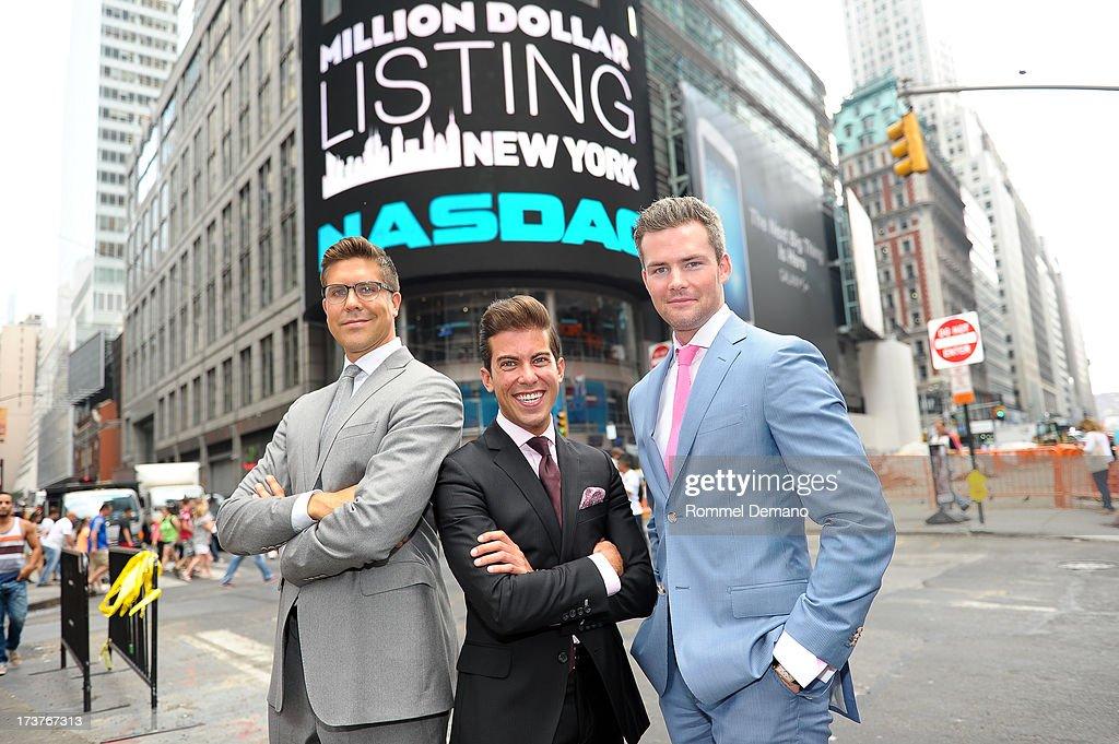 Fredrik Eklund, Luis D Ortiz and Ryan Serhant ring the NASDAQ closing bell at NASDAQ MarketSite on July 17, 2013 in New York City.