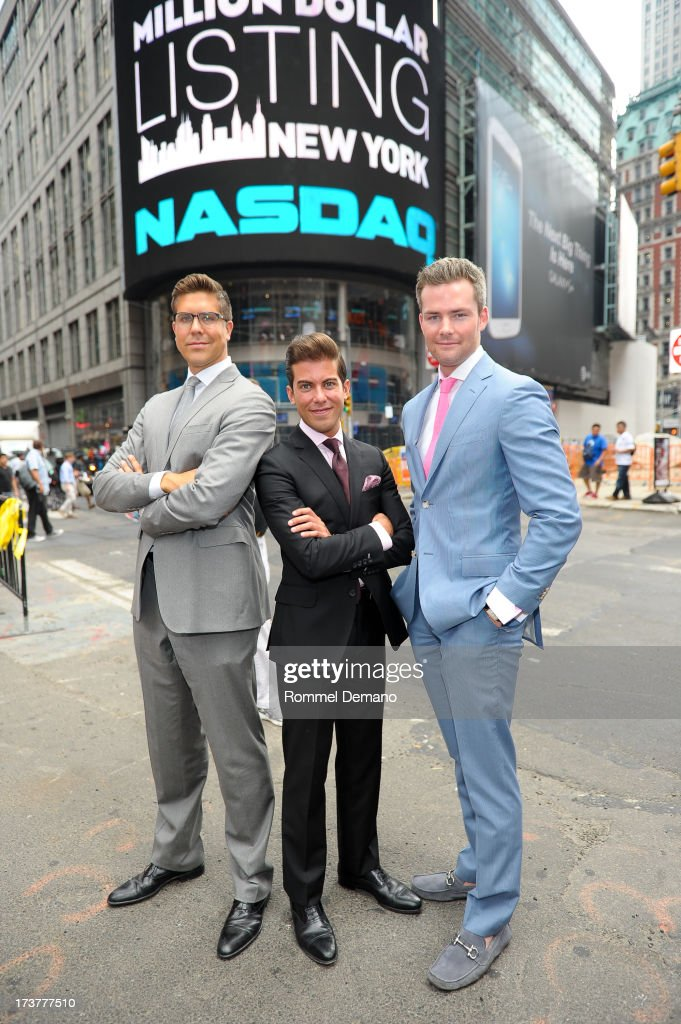 Fredrik Eklund, Luis D Ortiz and Ryan Serhant ring the NASDAQ closing bell at NASDAQ MarketSite on July 17, 2013 in New York City.