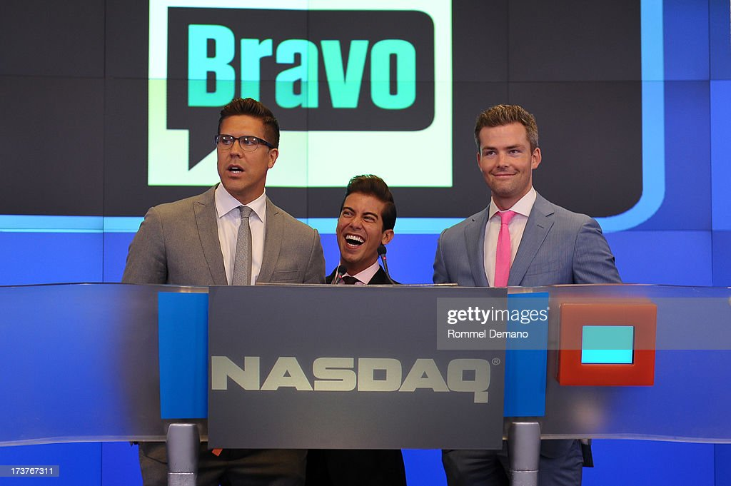 Fredrik Eklund, Luis D Ortiz and Ryan Serhant rings the NASDAQ closing bell at NASDAQ MarketSite on July 17, 2013 in New York City.