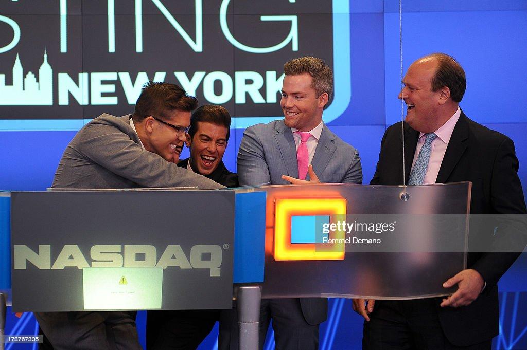 Fredrik Eklund, Luis D Ortiz, Ryan Serhant and David Wicks ring the NASDAQ closing bell at NASDAQ MarketSite on July 17, 2013 in New York City.