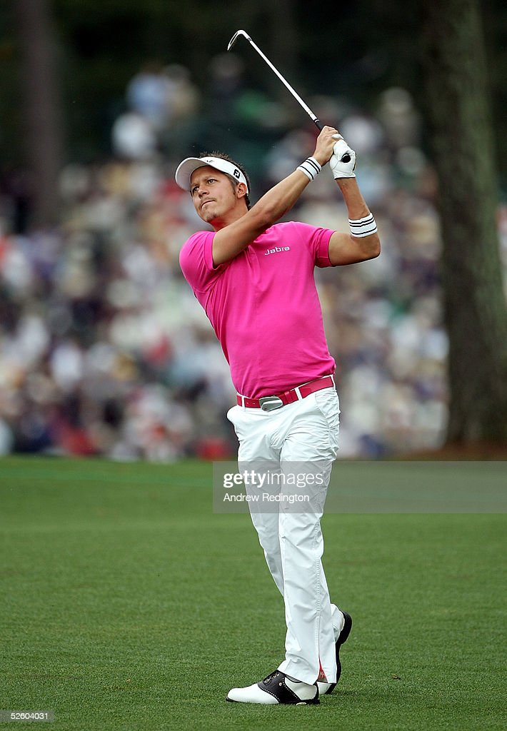 Fredrik Jacobson of Sweden hits a shot on the 17th hole during the first round The Masters at the Augusta National Golf Club on April 8, 2005 in Augusta, Georgia.