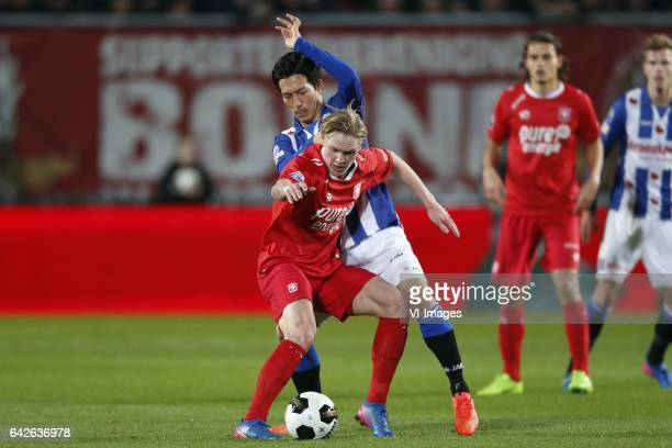 Fredrik Jensen of FC Twente Yuki Kobayashi of SC Heerenveenduring the Dutch Eredivisie match between FC Twente and sc Heerenveen at the Grolsch Veste...