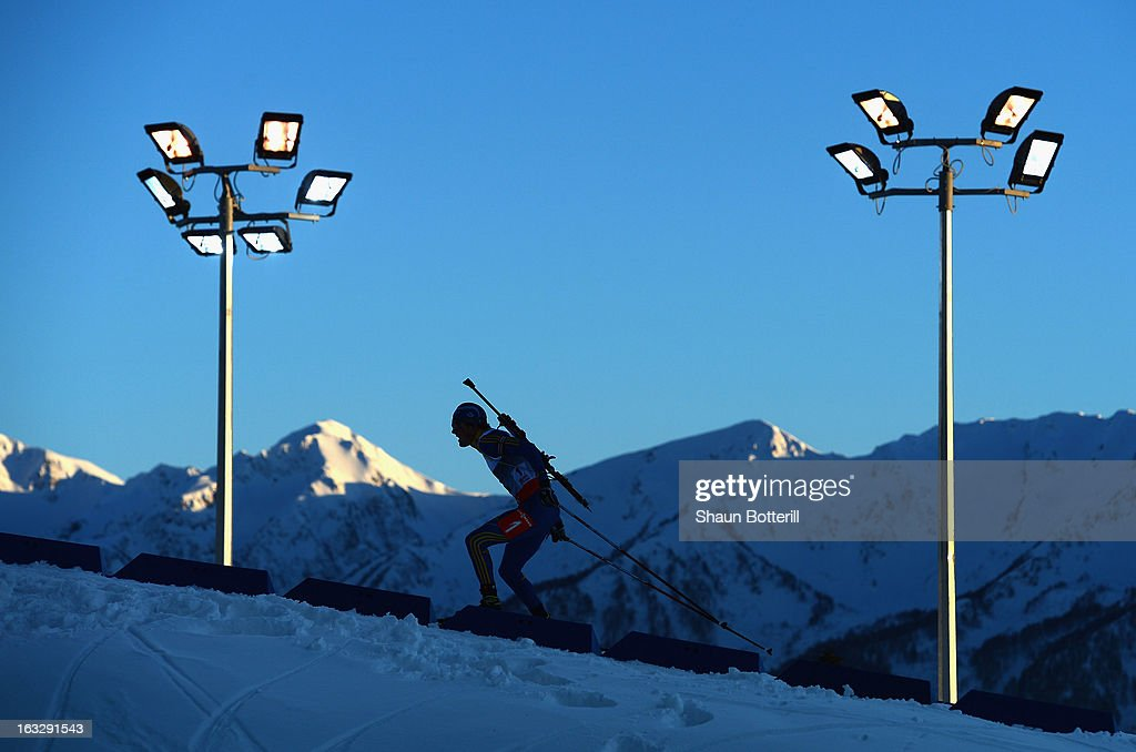 Fredrik Lindstrom of Sweden competes in the Men's 20km Individual Event during the E. ON IBU Biathlon World Cup at the 'Laura' Biathlon & Ski Complex on March 7, 2013 in Sochi, Russia.