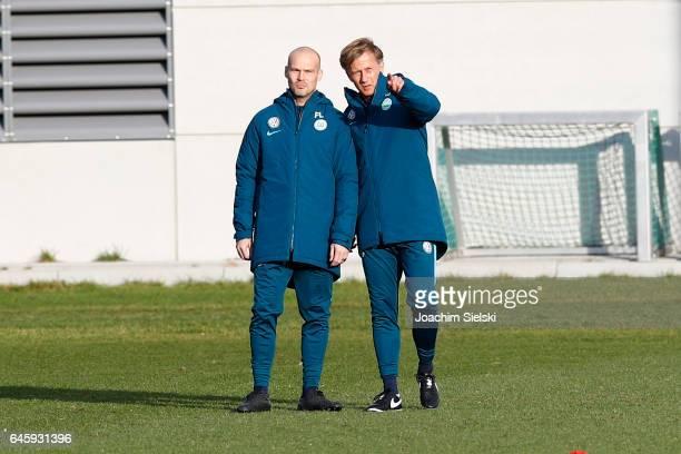 Fredrik Ljungberg and Andries Jonker attend Training of VfL Wolfsburg at Volkswagen Center on February 27 2017 in Wolfsburg Germany