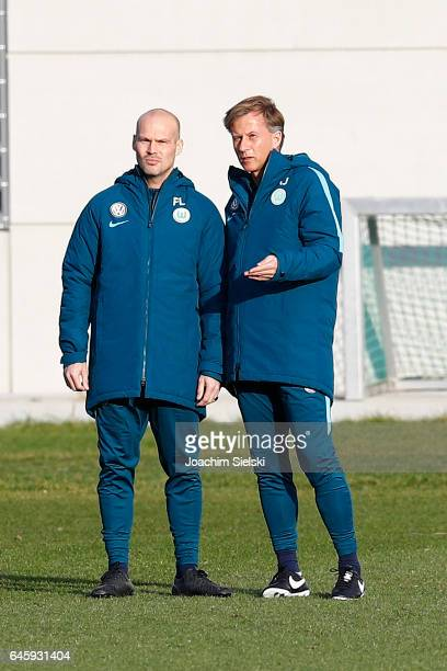Fredrik Ljungberg and Andries Jonker attend Training of VfL Wolfsburg at Volkswagen Center on February 27 2017 in Wolfsburg Germany