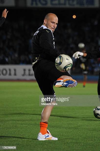 Fredrik Ljungberg of Shimizu SPulse practices in half time during JLeague match between Kawasaki Frontale and Shimizu SPulse at Todoroki Stadium on...