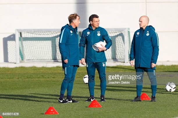 Fredrik Ljungberg Uwe Speidel and Andries Jonker attend Training of VfL Wolfsburg at Volkswagen Center on February 27 2017 in Wolfsburg Germany