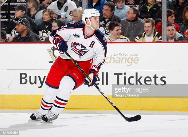 Fredrik Modin of the Columbus Blue Jackets skates against the Pittsburgh Penguins on February 6 2009 at Mellon Arena in Pittsburgh Pennsylvania
