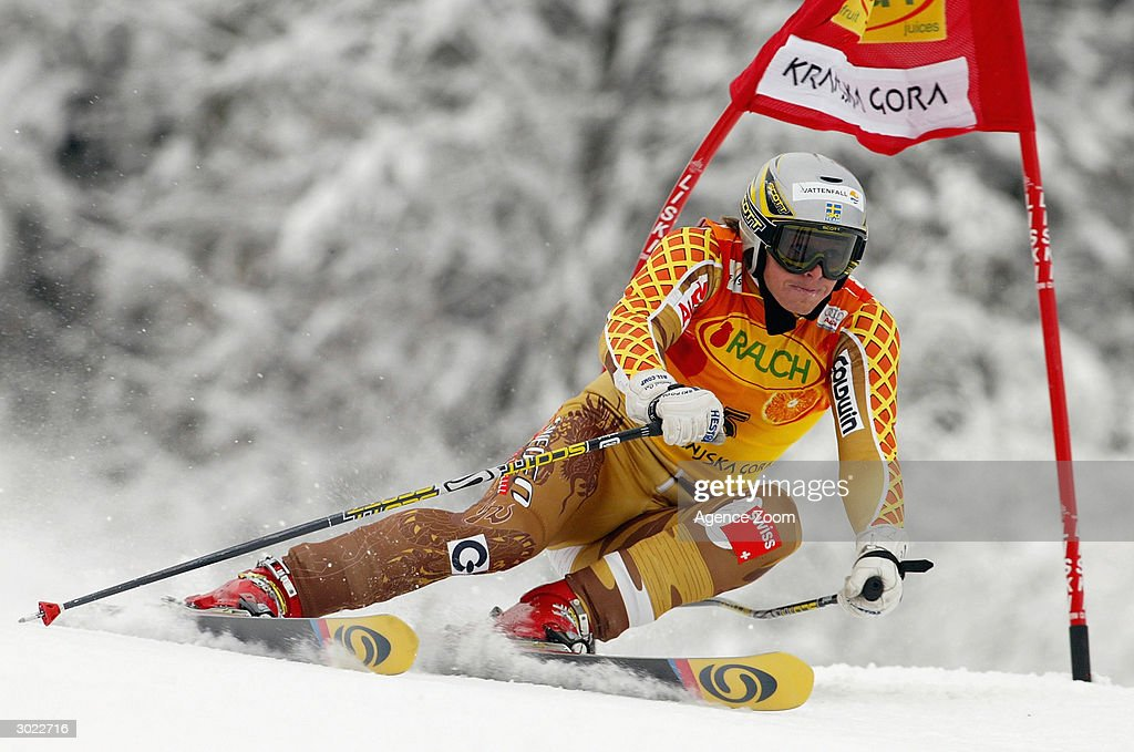 Fredrik Nyberg of Sweden on his way to shared third place during the FIS Alpine Ski World Cup Men's Giant Slalom on February 28, 2004 in Kranjska Gora, Slovenia.