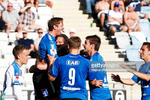 Fredrik Olsson celebrates after scored 11 during the Allsvenskan match between IFK Norrkoping and Halmstad BK at Ostgotaporten on May 27 2017 in...