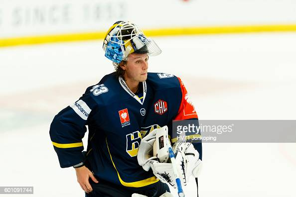 Fredrik Petterssonwentzel goaltender of HV71 single action during the Champions Hockey League match between HV71 Jonkoping and Red Bull Salzburg at...