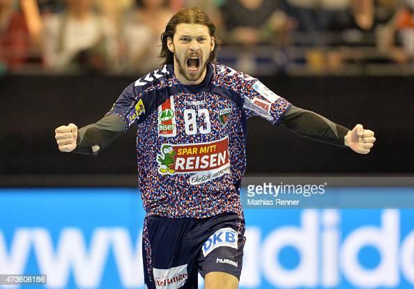 Fredrik Raahauge Petersen of Fuechse Berlin during the game between Rk Gorenje Velenje and Fuechse Berlin on May 16 2015 in Berlin Germany