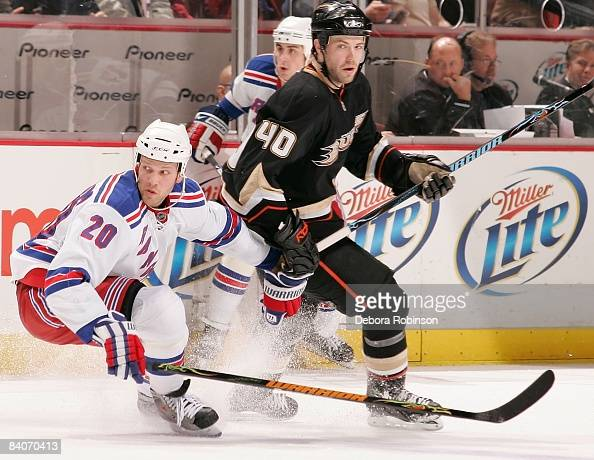 Fredrik Sjostrom of the New York Rangers skates on the forecheck against Kent Huskins of the Anaheim Ducks during their game on December 16 2008 at...
