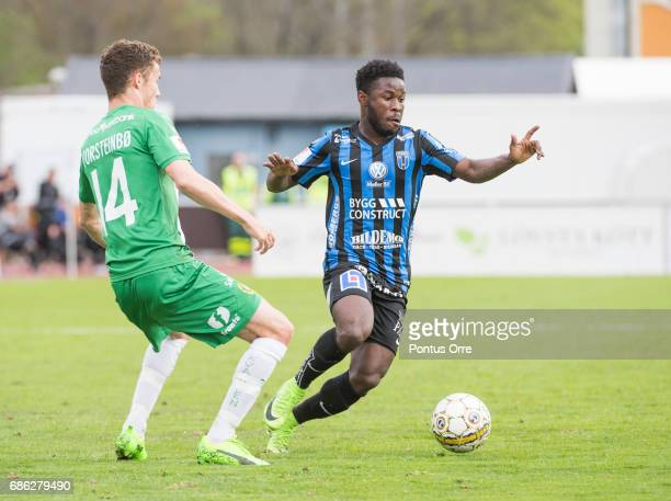 Fredrik Torsteinbø of Hammarby IF and Kingsley Sarfo of IK Sirius FK during the Allsvenskan match between IK Sirius FK and Hammarby IF at...