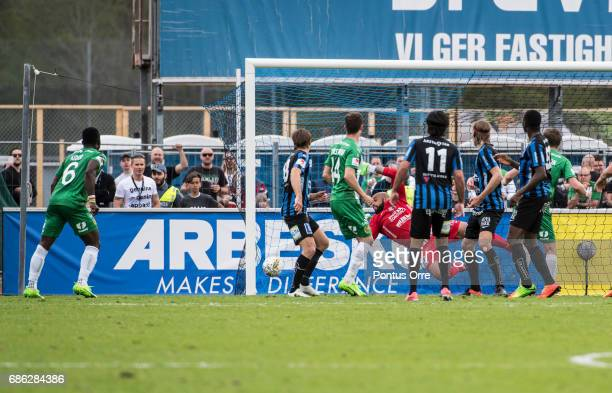 Fredrik Torsteinbø of Hammarby IF scores 11 with a header during the Allsvenskan match between IK Sirius FK and Hammarby IF at Studenternas IP on May...