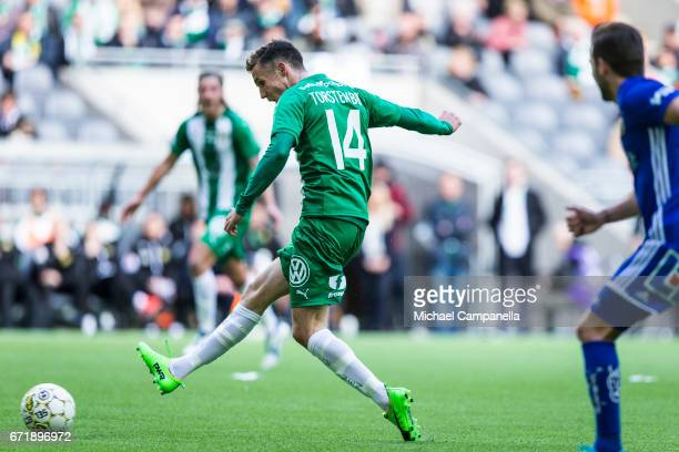 Fredrik Torsteinbo of Hammarby IF takes a shot on goal during an Allsvenskan match between Hammarby IF and GIF Sundsvall at Tele2 Arena on April 23...