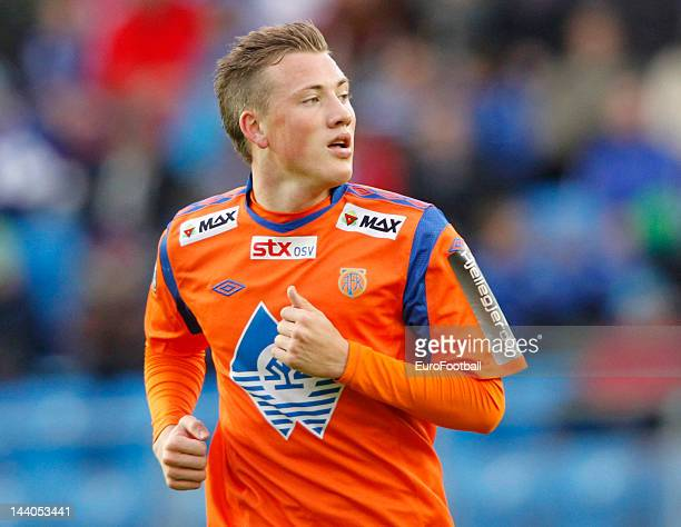Fredrik Ulvestad of Aalesunds FK in action during the Norwegian Tippeligaen match between Molde FK and Aalesunds FK held on May 6 2012 at the Aker...