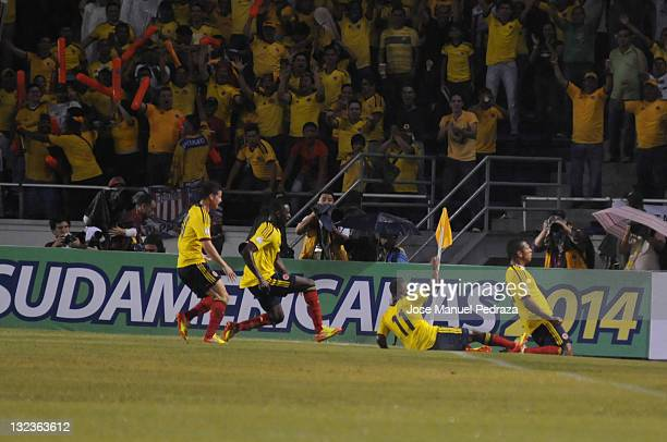 Fredy Guarin from Colombia celebrates a goal during a match between Colombia and venezuela as part of the round of the South American Qualifiers for...