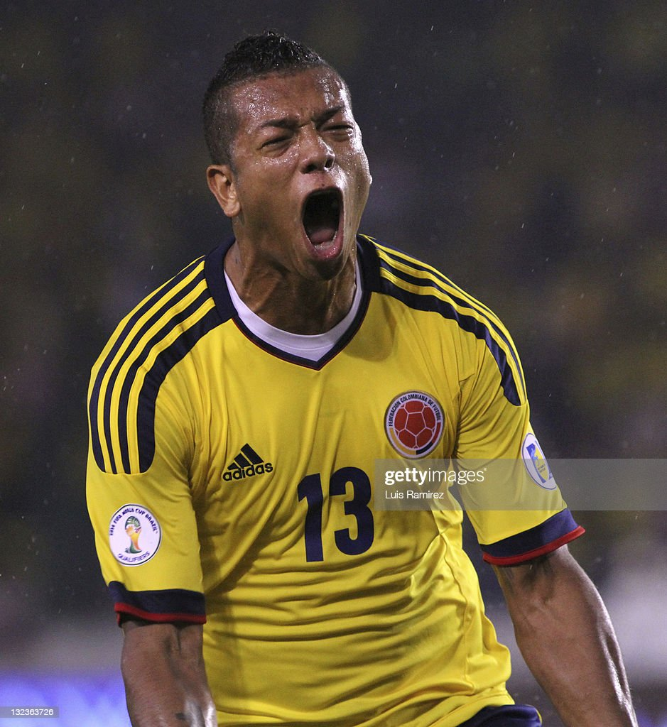 <a gi-track='captionPersonalityLinkClicked' href=/galleries/search?phrase=Fredy+Guarin&family=editorial&specificpeople=746933 ng-click='$event.stopPropagation()'>Fredy Guarin</a>, from Colombia, celebrates a goal during a match between Colombia and Venezuela as part of the third round of the South American Qualifiers for FIFA World Cup Brazil 2014 at Roberto Melendez Stadium on November 11, 2011 in Barranquilla, Colombia.