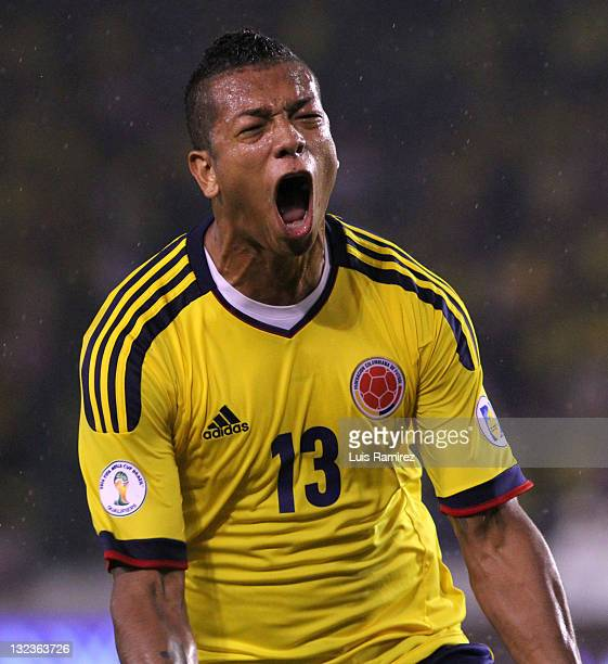 Fredy Guarin from Colombia celebrates a goal during a match between Colombia and Venezuela as part of the third round of the South American...