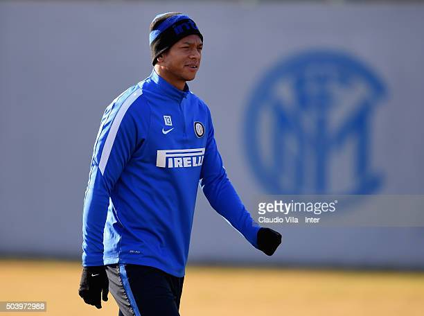 Fredy Guarin looks on during the FC Internazionale training session at the club's training ground at Appiano Gentile on January 8 2016 in Como Italy
