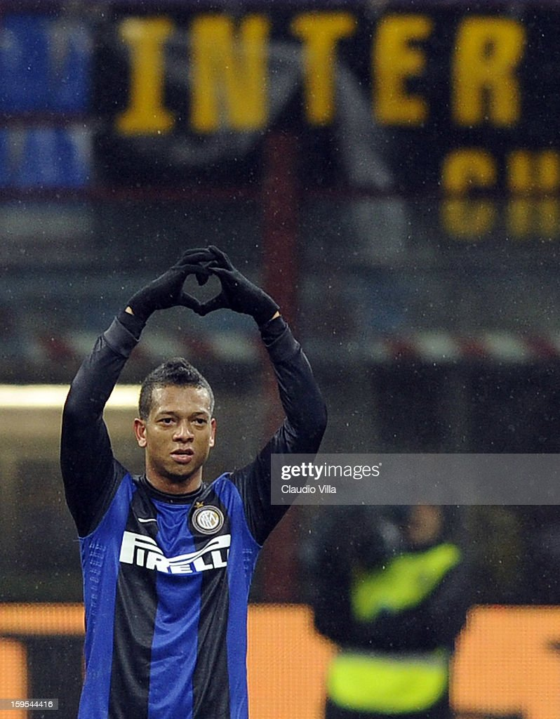 <a gi-track='captionPersonalityLinkClicked' href=/galleries/search?phrase=Fredy+Guarin&family=editorial&specificpeople=746933 ng-click='$event.stopPropagation()'>Fredy Guarin</a> of FC Inter celebrates scoring the first goal during the TIM cup match between FC Internazionale Milano and Bologna FC at Stadio Giuseppe Meazza on January 15, 2013 in Milan, Italy.