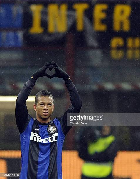 Fredy Guarin of FC Inter celebrates scoring the first goal during the TIM cup match between FC Internazionale Milano and Bologna FC at Stadio...