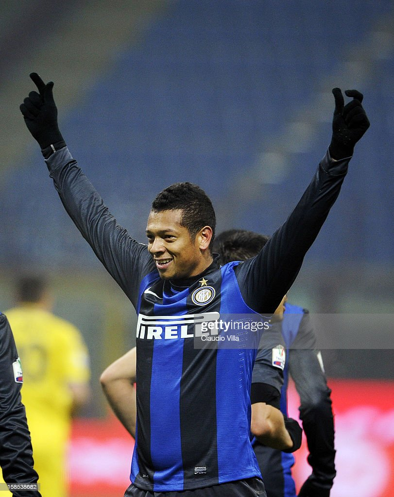 <a gi-track='captionPersonalityLinkClicked' href=/galleries/search?phrase=Fredy+Guarin&family=editorial&specificpeople=746933 ng-click='$event.stopPropagation()'>Fredy Guarin</a> of FC Inter celebrates scoring the second goal during the TIM Cup match between FC Internazionale Milano and Hellas Verona at San Siro Stadium on December 18, 2012 in Milan, Italy.