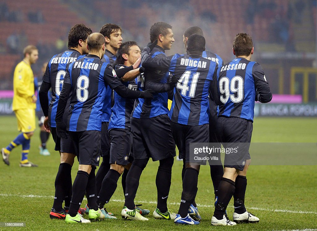 <a gi-track='captionPersonalityLinkClicked' href=/galleries/search?phrase=Fredy+Guarin&family=editorial&specificpeople=746933 ng-click='$event.stopPropagation()'>Fredy Guarin</a> of FC Inter (C) celebrates scoring the second goal during the TIM Cup match between FC Internazionale Milano and Hellas Verona at San Siro Stadium on December 18, 2012 in Milan, Italy.