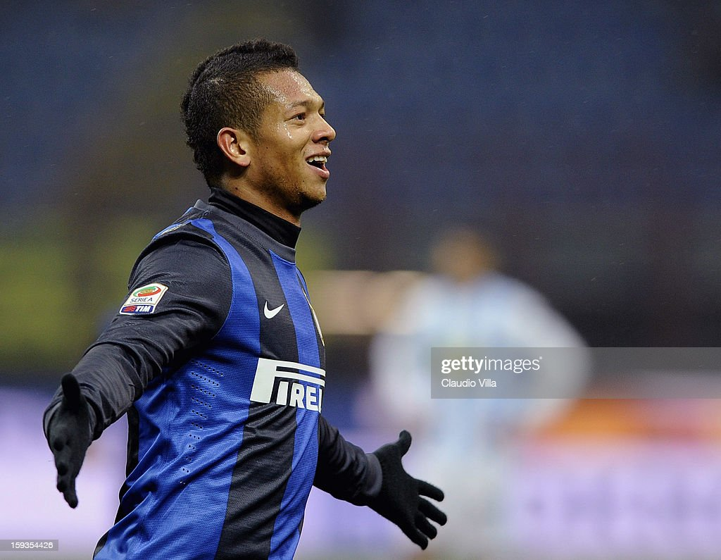 <a gi-track='captionPersonalityLinkClicked' href=/galleries/search?phrase=Fredy+Guarin&family=editorial&specificpeople=746933 ng-click='$event.stopPropagation()'>Fredy Guarin</a> of FC Inter celebrates scoring the second goal during the Serie A match between FC Internazionale Milano and Pescara at San Siro Stadium on January 12, 2013 in Milan, Italy.