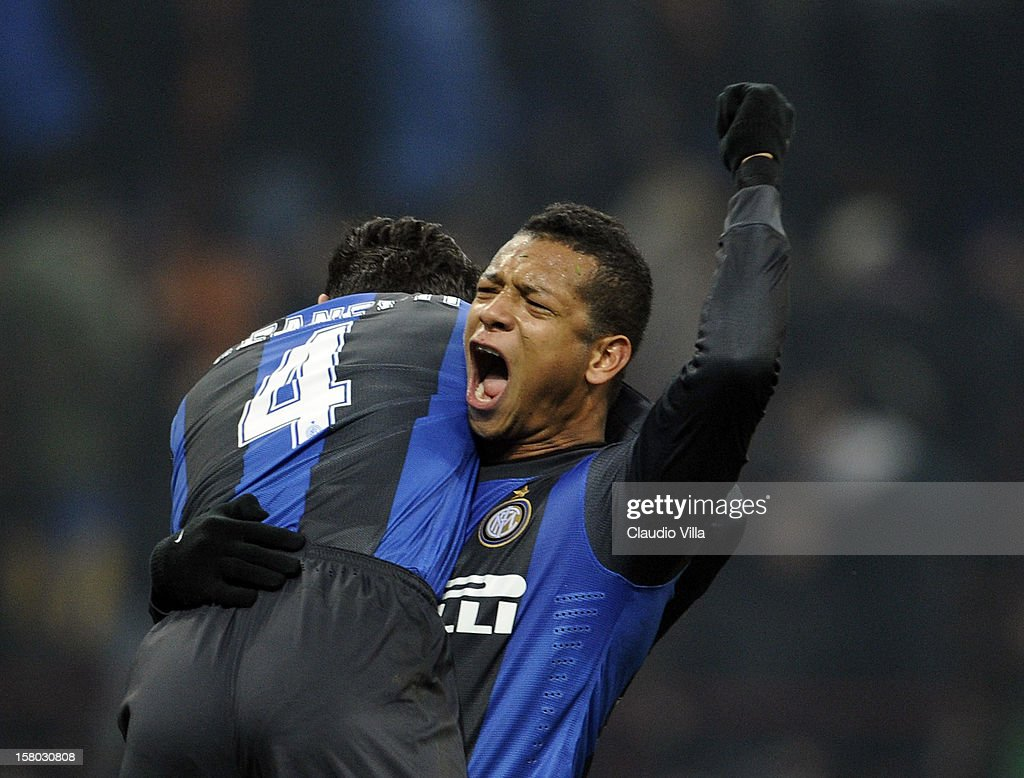 <a gi-track='captionPersonalityLinkClicked' href=/galleries/search?phrase=Fredy+Guarin&family=editorial&specificpeople=746933 ng-click='$event.stopPropagation()'>Fredy Guarin</a> of FC Inter celebrates victory at the end of the Serie A match between FC Internazionale Milano and SSC Napoli at San Siro Stadium on December 9, 2012 in Milan, Italy.