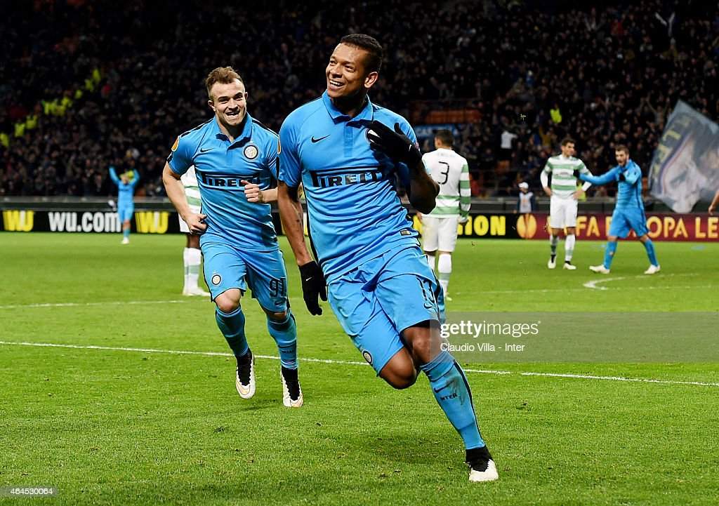 <a gi-track='captionPersonalityLinkClicked' href=/galleries/search?phrase=Fredy+Guarin&family=editorial&specificpeople=746933 ng-click='$event.stopPropagation()'>Fredy Guarin</a> of FC Internazionale celebrates after scoring the first goal during the UEFA Europa League Round of 32 match between FC Internazionale Milano and Celtic FC at Stadio Giuseppe Meazza on February 26, 2015 in Milan, Italy.