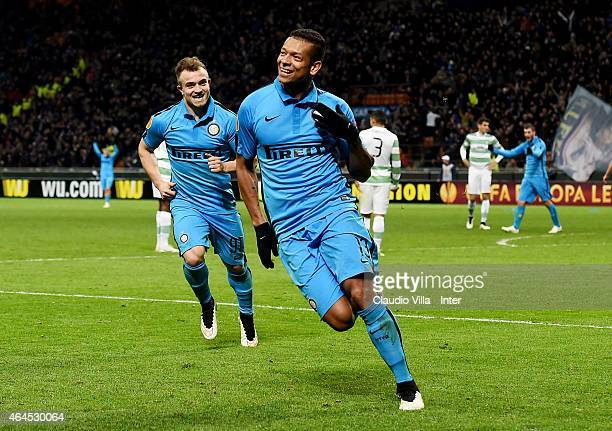 Fredy Guarin of FC Internazionale celebrates after scoring the first goal during the UEFA Europa League Round of 32 match between FC Internazionale...
