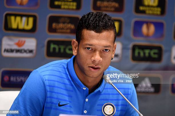 Fredy Guarin of FC Internazionale during press conference at Olimpiyskiy stadium on September 17 2014 in Kiev Ukraine