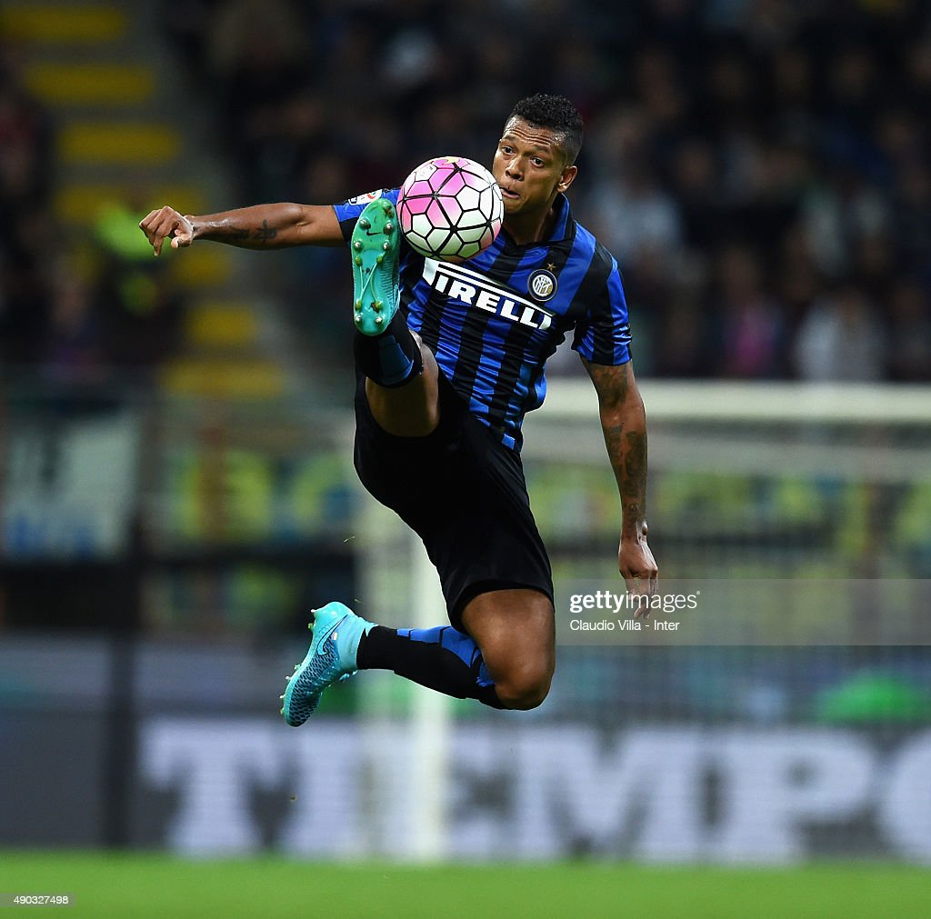 <a gi-track='captionPersonalityLinkClicked' href=/galleries/search?phrase=Fredy+Guarin&family=editorial&specificpeople=746933 ng-click='$event.stopPropagation()'>Fredy Guarin</a> of FC Internazionale in action during the Serie A match between FC Internazionale Milano and ACF Fiorentina at Stadio Giuseppe Meazza on September 27, 2015 in Milan, Italy.