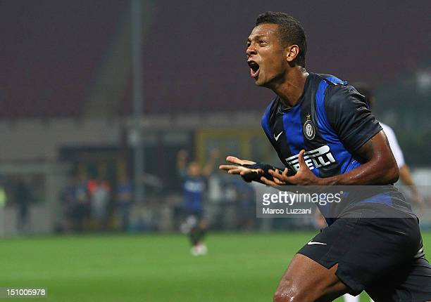 Fredy Guarin of FC Internazionale Milano celebrates his goal in the 90th minute of the UEFA Europa League playoff round second leg match between FC...