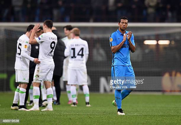 Fredy Guarin of FC Internazionale reacts at the end of the UEFA Europa League Round of 16 match between FC Internazionale Milano and VfL Wolfsburg at...