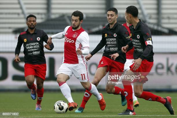 Fredy Ribeiro of Excelsior Amin Younes of Ajax Hicham Faik of Excelsior Ryan Koolwijk of Excelsiorduring the Dutch Eredivisie match between sbv...