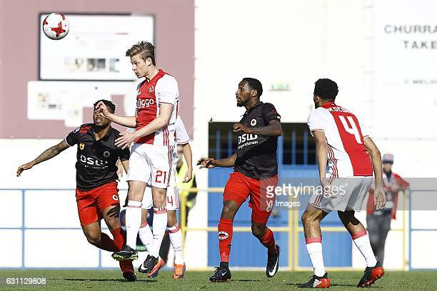 Fredy Ribeiro of Excelsior Frenkie de Jong of Ajax Amsterdam Jeffry Fortes of Excelsior Jairo Riedewald of Ajax Amsterdamduring the friendly match...