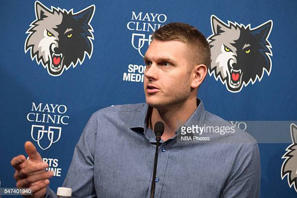 Free agent signee Cole Aldrich of the MInnesota Timberwolves meets the media on July 14 2016 at the Minnesota Timberwolves and Lynx Courts at Mayo...