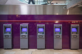 Row of free cash withdrawals ATM machines