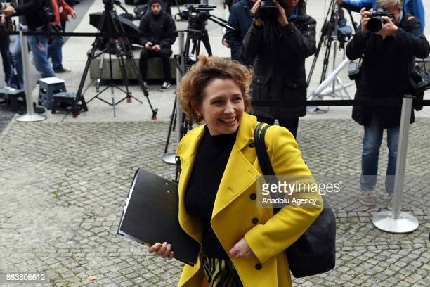 Free Democratic Party Secretary General Nicola Beer arrives to attend exploratory talks between German Christian Democratic Union Party Free...