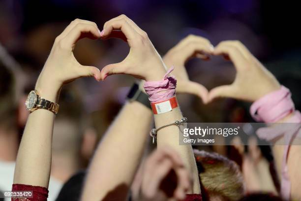 SALES free for editorial use General view of the crowd in this handout provided by 'One Love Manchester' benefit concert on June 4 2017 in Manchester...
