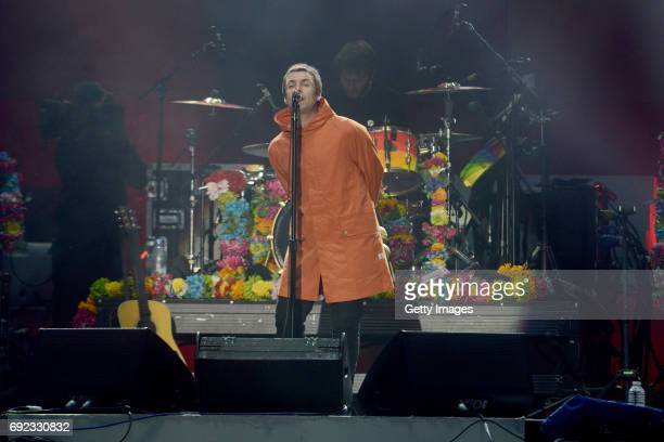 SALES free for editorial use In this handout provided by 'One Love Manchester' benefit concert Liam Gallagher performs on stage on June 4 2017 in...